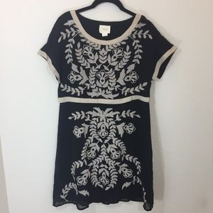 Antrhopologie Maeve Black Cream Embroidered Dress